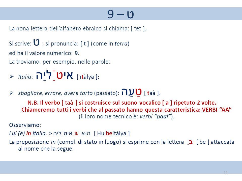 9 – ט La nona lettera dell'alfabeto ebraico si chiama: [ tet ].